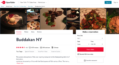 OpenTable uses UGC on their product pages