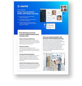 Solution brief cover of retail banking solutions by Clarifai