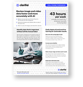 Solution brief cover of Clarifai cell phone forensics solutions