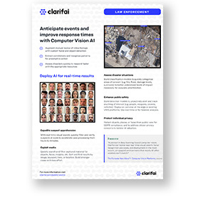 Solution brief cover of federal law enforcement solutions by Clarifai