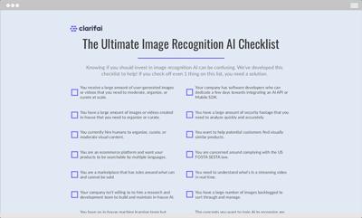 ultimate image recognition AI checklist