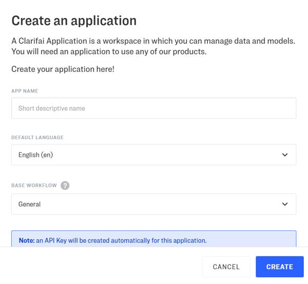 create_application_clarifai_ui