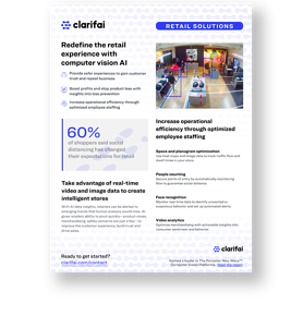 Solution brief cover of retail brick & mortar solutions by Clarifai