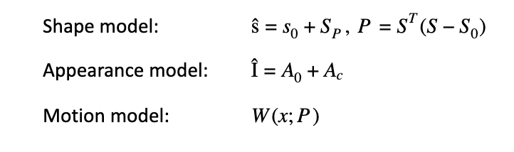 Calculation formula of Shape model, Appearance model, and Motion model